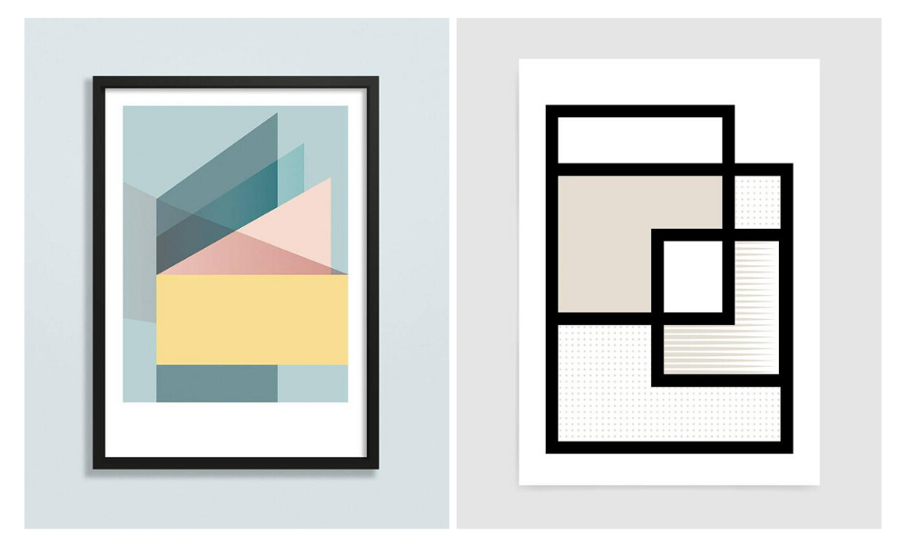 Two rocket jack prints left hand side depicts geometric shape print in pastel colours and right hand side shows line drawing squares interlinked in neutral tones