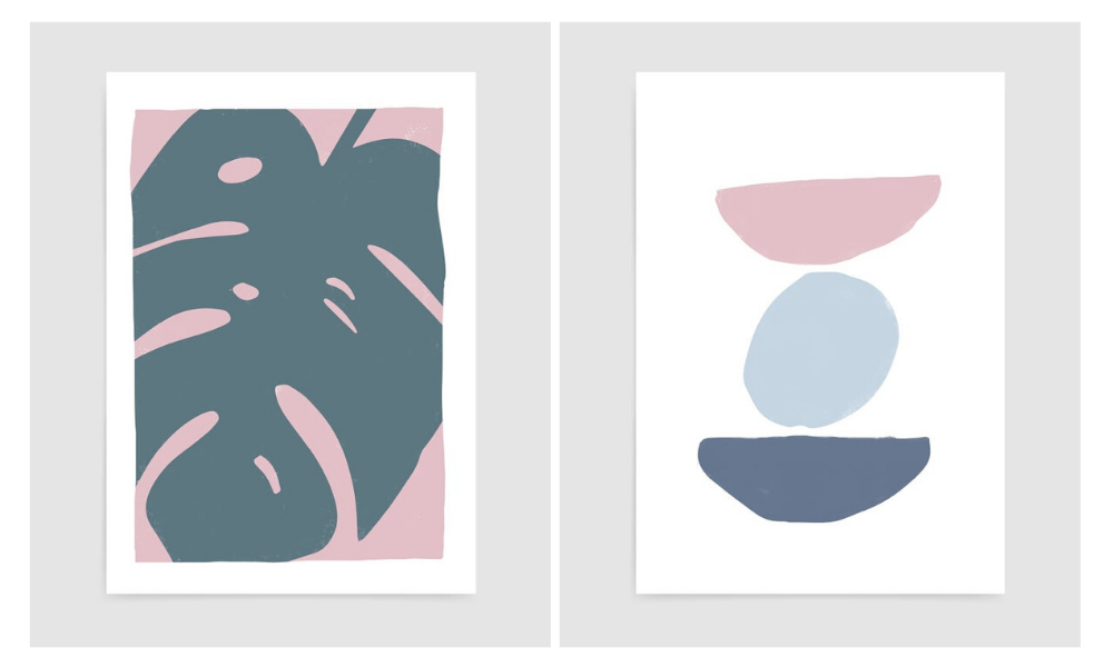 rocket jack prints featuring abstract monstera leaf and abstract stone relaxing calm decor