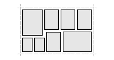 Gallery wall layout symmetrical grid