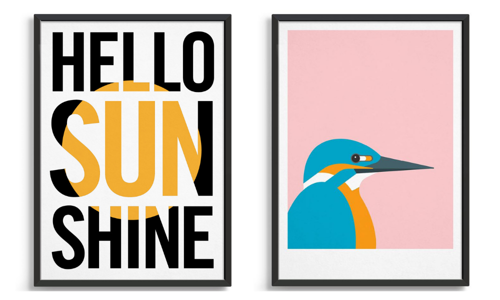 Bright colourful wall posters featuring a typography design with yellow sun and kingfisher bird against a ink background