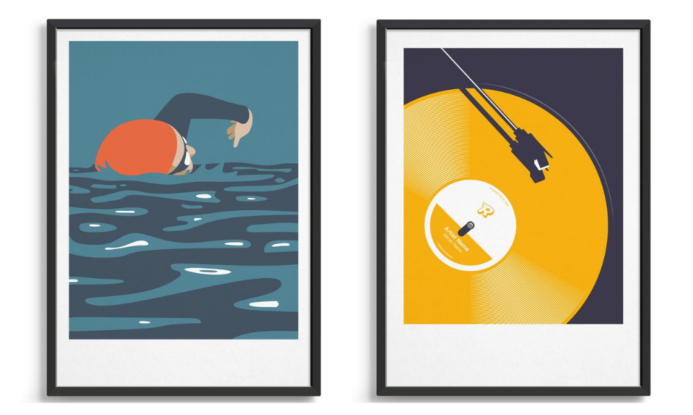 Mid century modern wall art prints including a swimmer and retro vinyl in yellow with personalisation