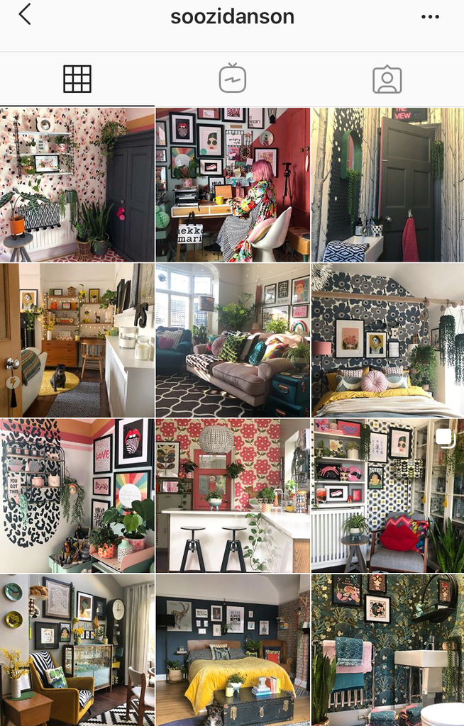 Screenshot of the instagram feed of interiors blogger @soozidanson
