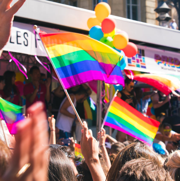 Rainbow flags flying at Brighton's annual Gay Pride event