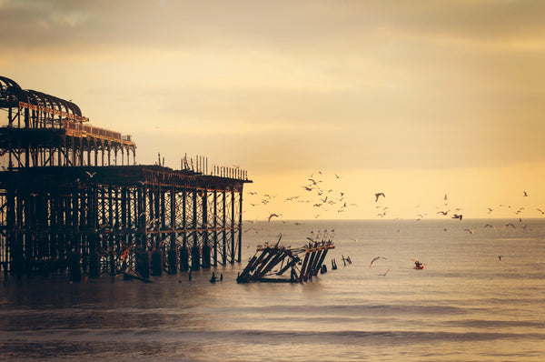 Brighton's West Pier photographed at sunset