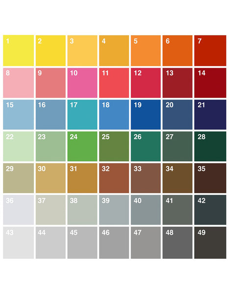pantone style colour swatch with 49 colours for custom typography art print