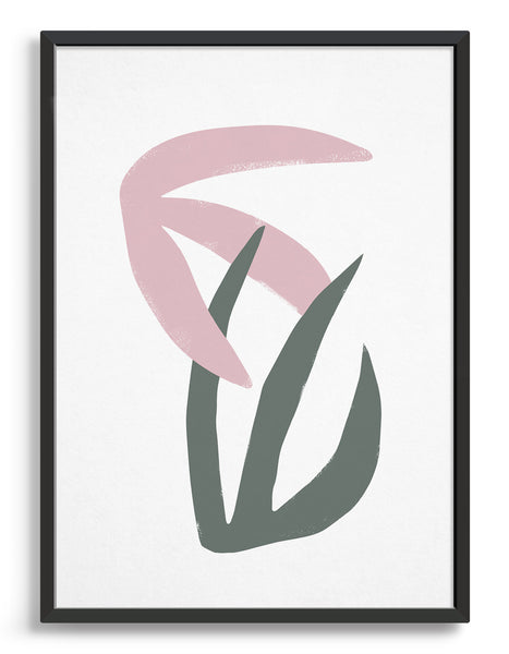 Matisse style interlocking leaf print with pink and grey wide frond leaves against a white background