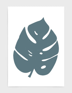 Art print depicting a large blue monstera leaf against a white background