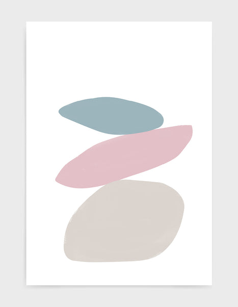 pastel tone minimal abstract art print of stacked stones in varying shapes in blue, pink and grey