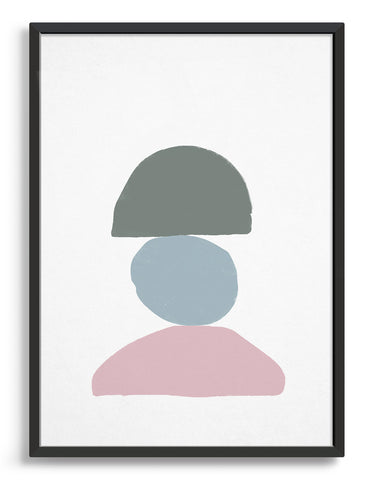 Minimal screen print style art print featuring three curved stone shapes sat on top of each other. One pink semi circle, a pale blue circle and greeny grey semi circle on top