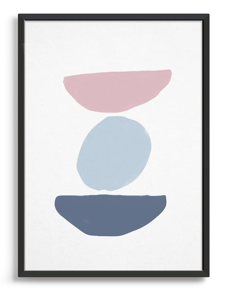 scandi inspired natural artprint depicting coloured shapes stacked on top of each other. Pink semi circle on top of a pale blue circle on top of a blue/grey semi circle