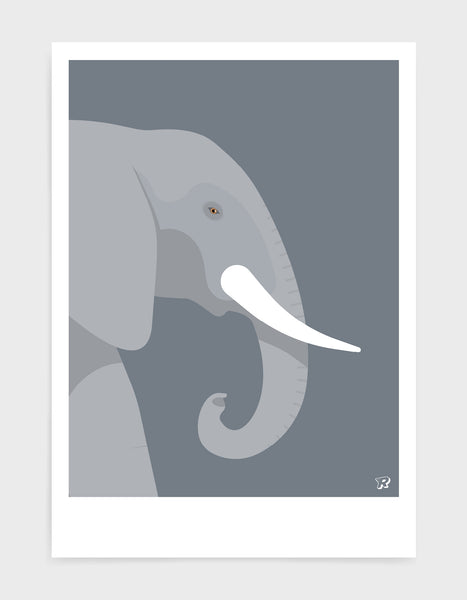 art print of an elephant in profile against a dark grey background