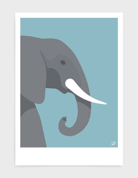 art print of an elephant in profile against a light blue background