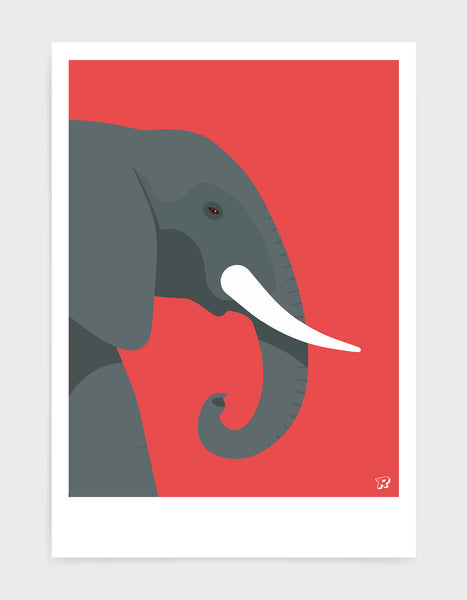 art print of an elephant in profile against a red background