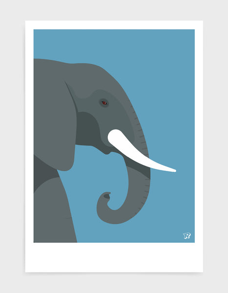 art print of an elephant in profile against a sky blue background