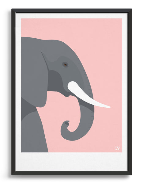 framed art print of an elephant in profile against a pink background