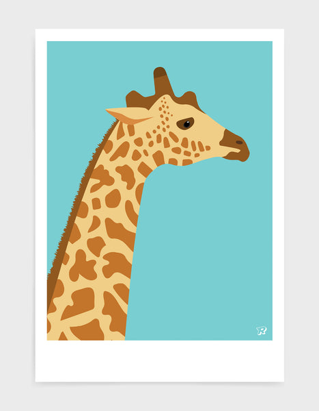 art print of a giraffe in profile against a aqua blue background