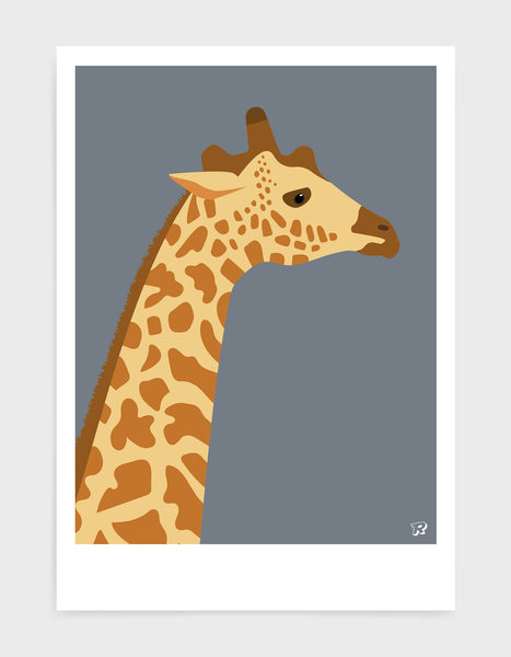 art print of a giraffe in profile against a dark grey background