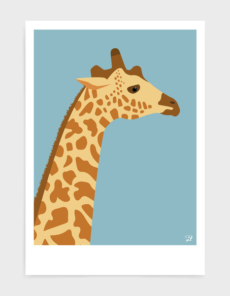 art print of a giraffe in profile against a light blue background