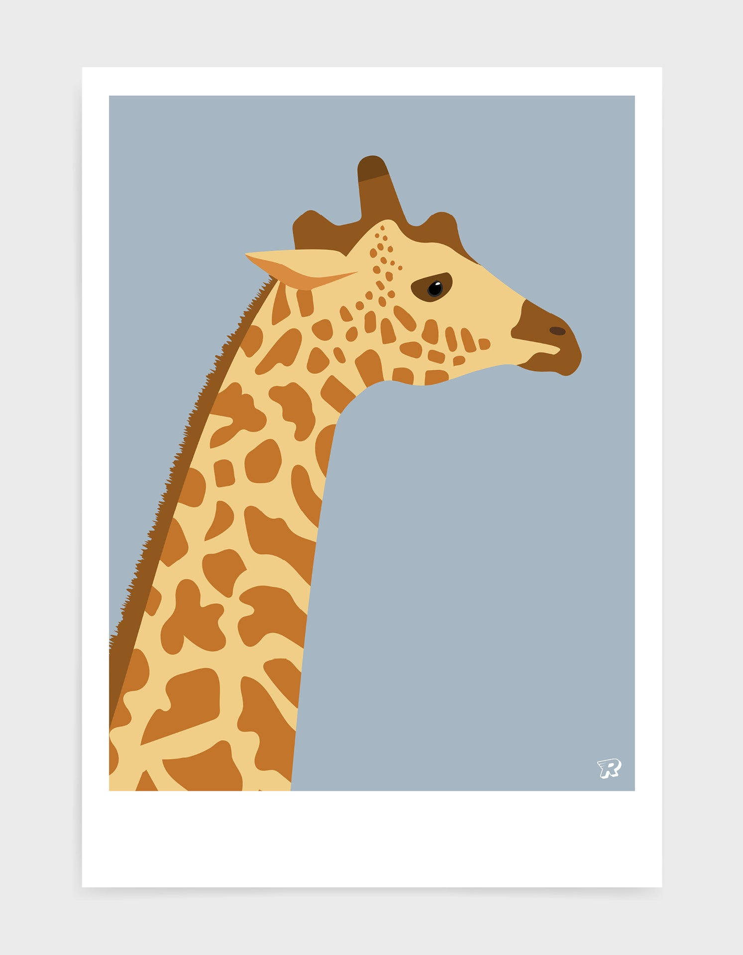 art print of a giraffe in profile against a light grey background