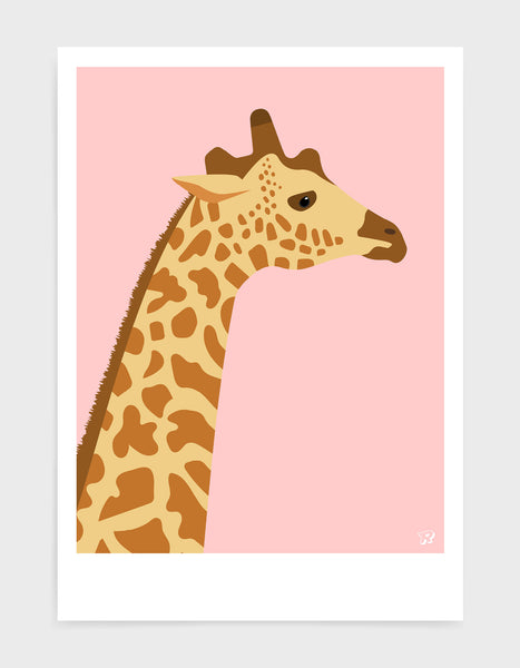 art print of a giraffe in profile against a pink background