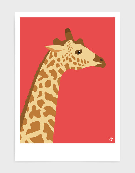 art print of a giraffe in profile against a red background