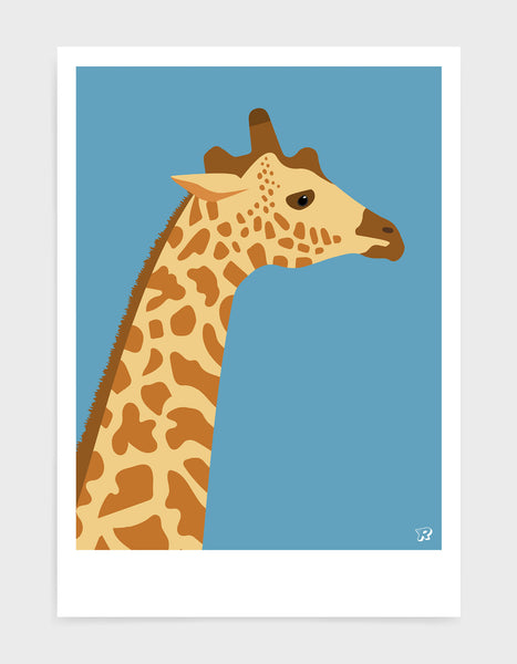 art print of a giraffe in profile against a sky blue background