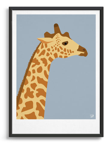 framed art print of a giraffe in profile against a light grey background