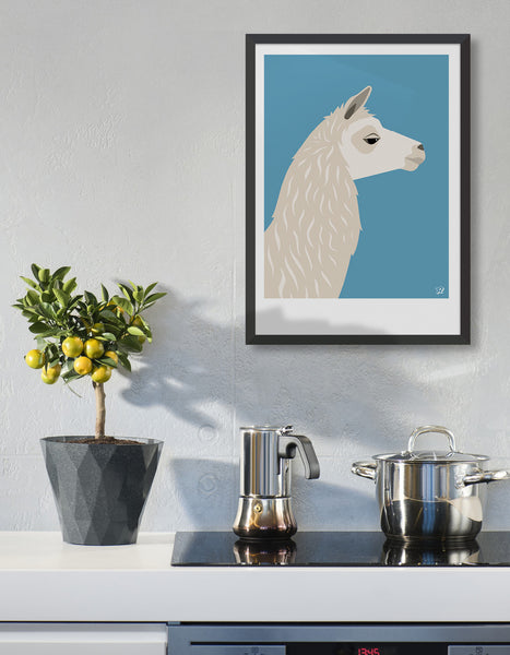 llama art print on the wall in a modern kitchen
