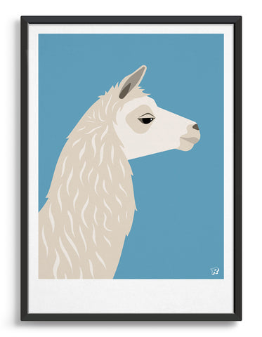 Art print featuring a llama against a bright blue background