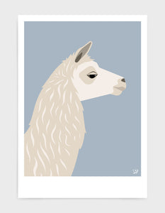 Art print featuring a llama against a light grey background