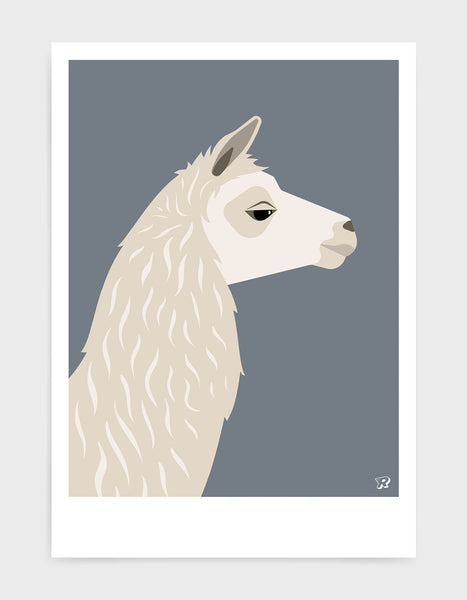 Art print featuring a llama against a dark grey background