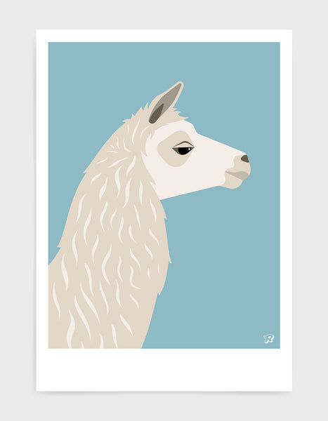 Art print featuring a llama against a light blue background