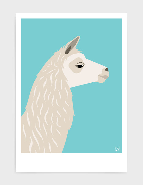 Art print featuring a llama against a aqua background
