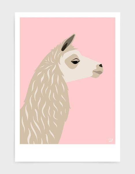 Art print featuring a llama against a pink background