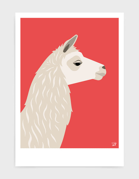 Art print featuring a llama against a red background