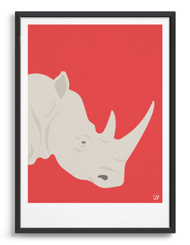 framed art print of a white rhino in profile against a red background