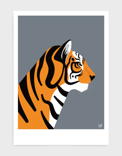 art print of a tiger in profile against a dark grey background