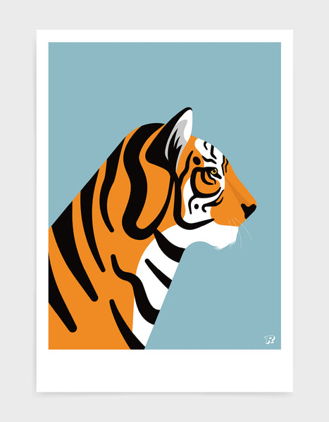 art print of a tiger in profile against a light blue background