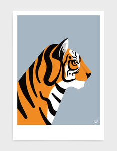 art print of a tiger in profile against a light grey background