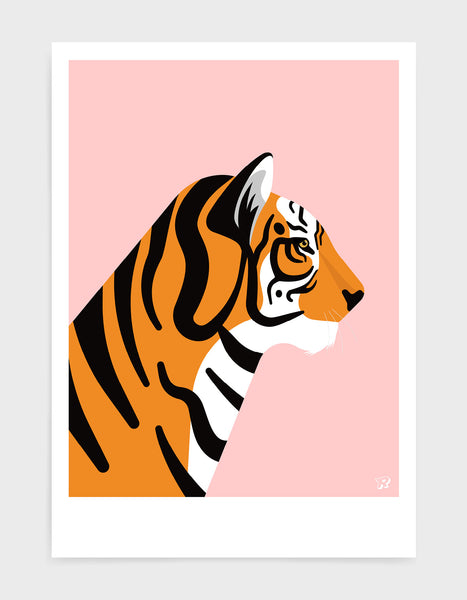 art print of a tiger in profile against a pink background