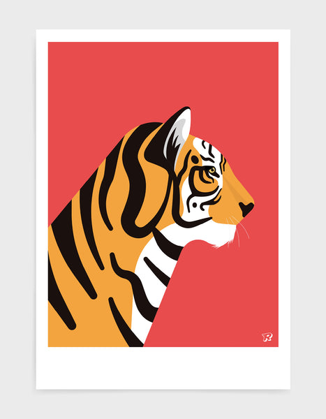 art print of a tiger in profile against a red background