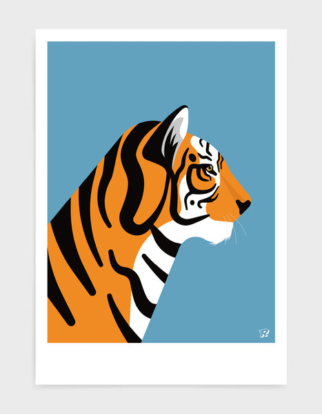 art print of a tiger in profile against a sky blue background