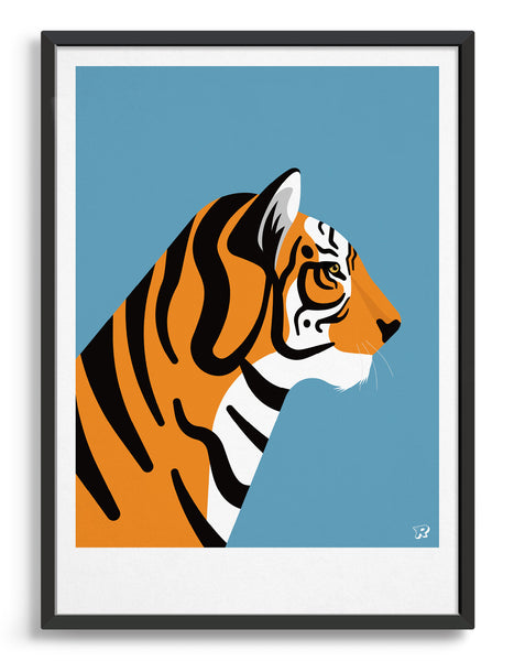 framed art print of a tiger in profile against a sky blue background