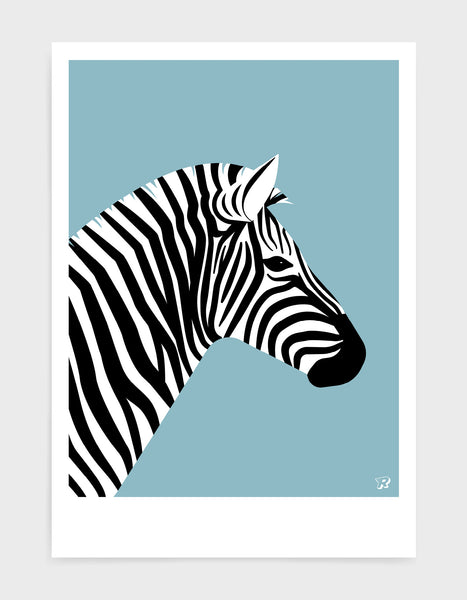 art print of a zebra in profile against a light blue background
