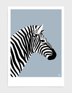 art print of a zebra in profile against a light grey background