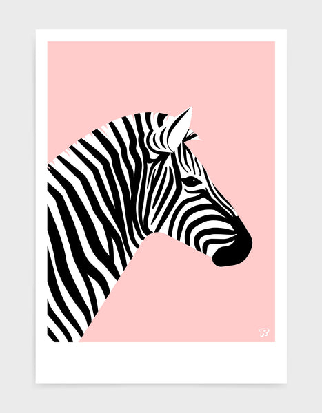 art print of a zebra in profile against a pink background