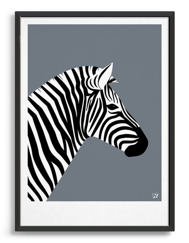 framed art print of a zebra in profile against a dark grey brackground