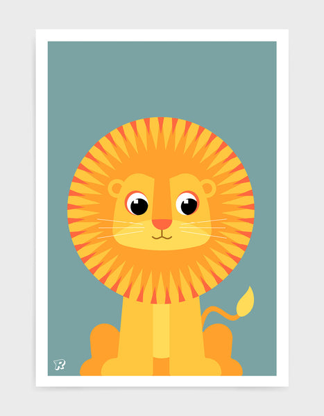 kids art print featuring a cute illustrated lion on a blue background