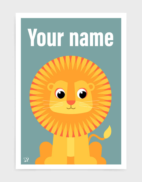 kids art print featuring a cute illustrated lion on a blue background with the words your name in white text at the top to illustrate where the print can be personalised