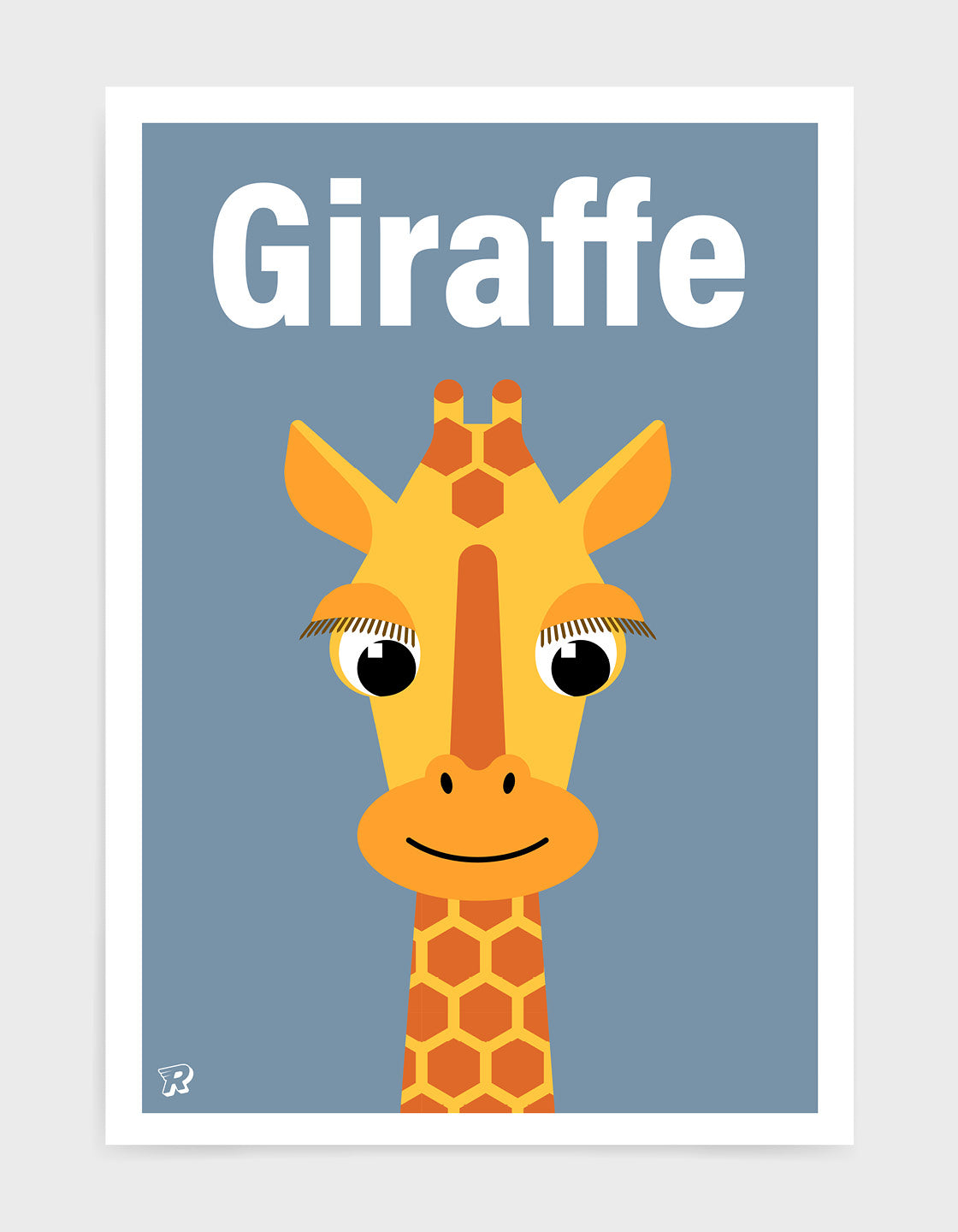 kids illustrated giraffe print with a cute giraffe head with long eyelashes against a blue background. The word giraffe is written at the top in white font